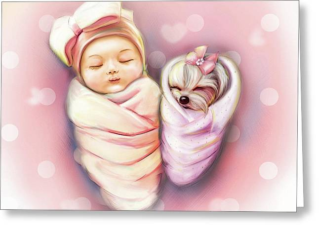 Greeting Card featuring the painting Sisters Nap Time by Catia Lee