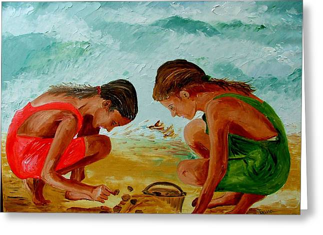 Sisters On The Beach Greeting Card by Inna Montano
