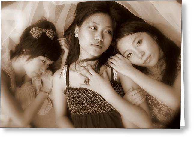Sisters Repose 2 Greeting Card by Annie