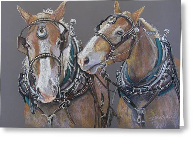 Sisters Whisper Greeting Card by Carole Haslock
