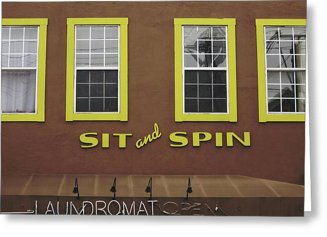 Greeting Card featuring the mixed media Sit And Spin Laundromat Color- By Linda Woods by Linda Woods