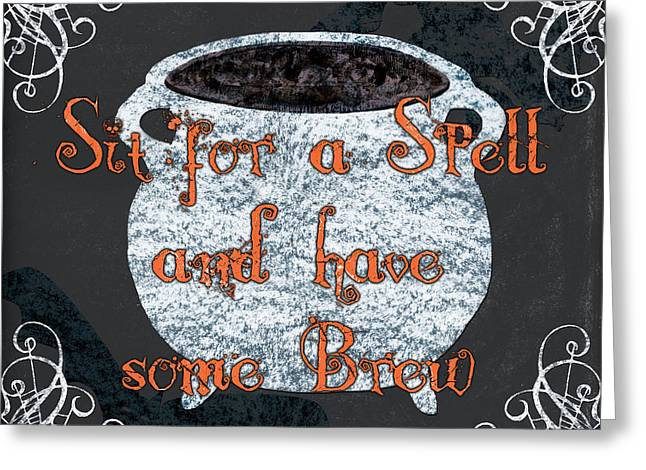 Sit For A Spell Greeting Card by Debbie DeWitt