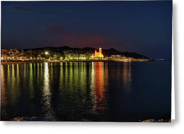 Greeting Card featuring the photograph Sitges Night 001 by Lance Vaughn