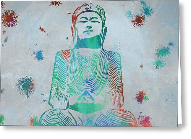 Sitting Buddha Paint Splatter Greeting Card by Dan Sproul