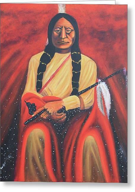 Sitting Bull - Siuox Shaman Greeting Card by Art Enrico