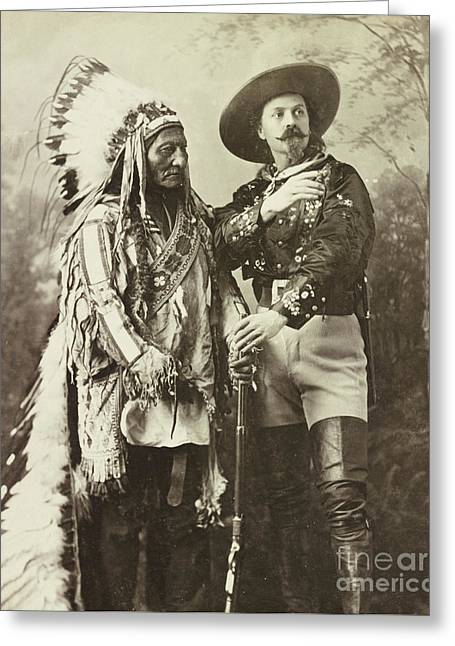 Sitting Bull And Buffalo Bill Cody Greeting Card by American School