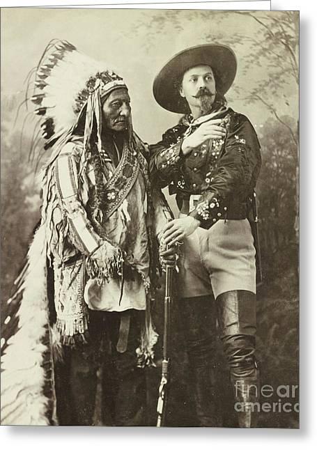 Sitting Bull And Buffalo Bill Cody Greeting Card by American School