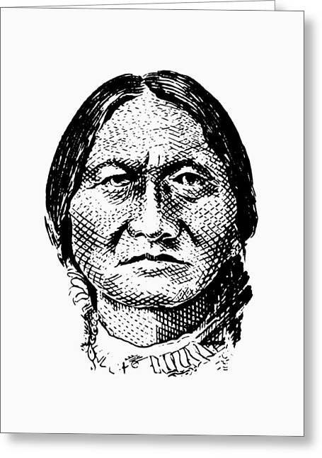 Sitting Bull Graphic Greeting Card by War Is Hell Store