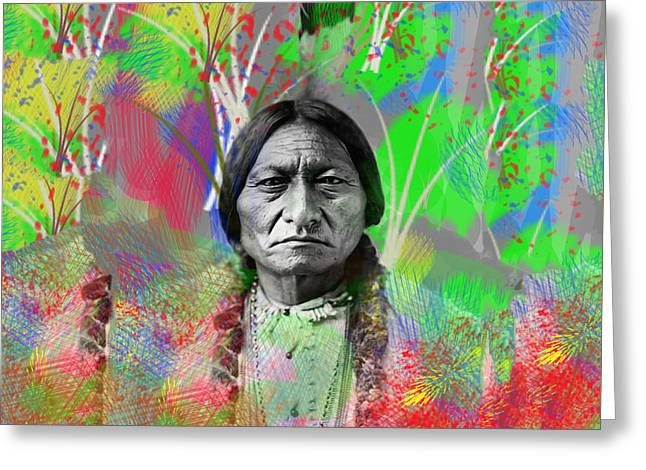 Sitting Bull In Abstract Greeting Card by Bill Cannon