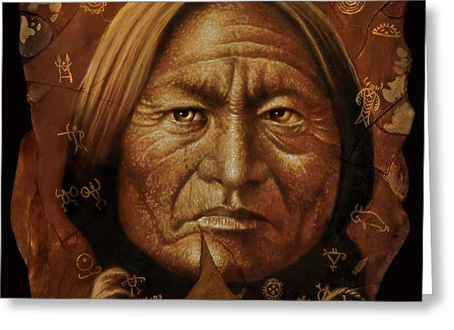 Sitting Bull Greeting Card by Jurek Zamoyski