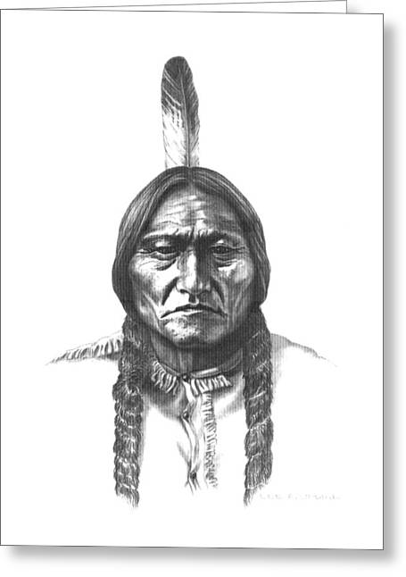 Eagle Feathers Greeting Cards - Sitting Bull Greeting Card by Lee Updike