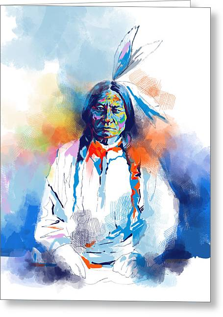Sitting Bull Watercolor Greeting Card by Bekim Art