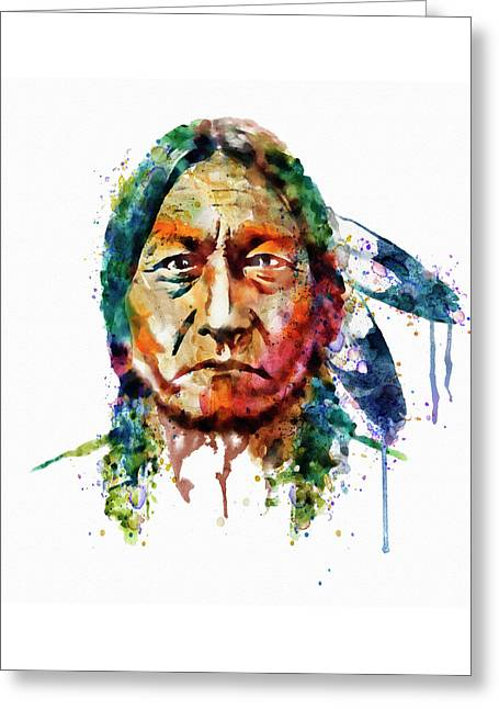 Sitting Bull Watercolor Painting Greeting Card by Marian Voicu