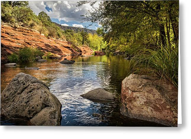 Greeting Card featuring the photograph Sitting Creekside Oak Creek  by Saija Lehtonen