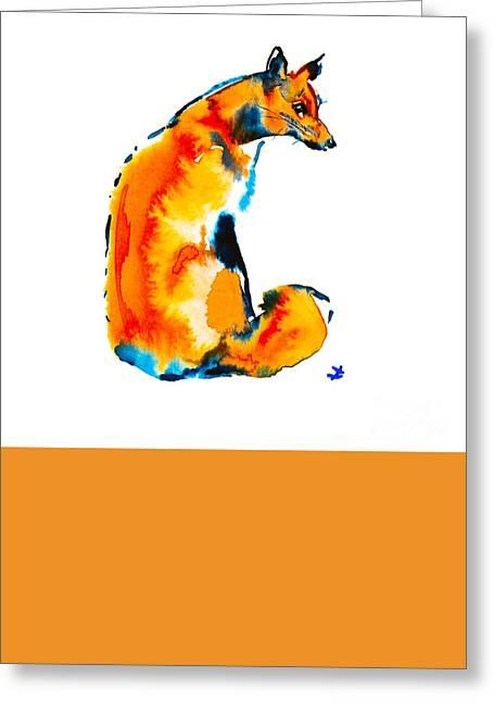 Greeting Card featuring the painting Sitting Fox by Zaira Dzhaubaeva