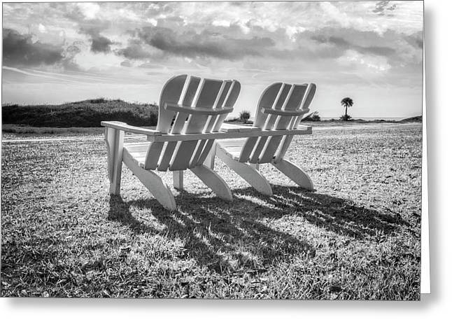 Sitting In The Sun Black And White Greeting Card
