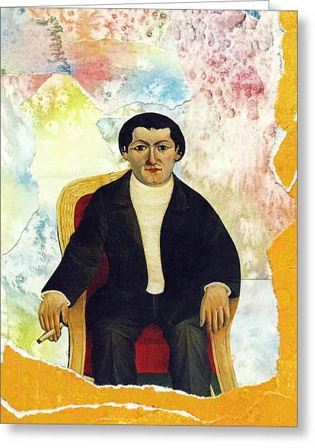 Sitting Man Greeting Card by John Vincent Palozzi
