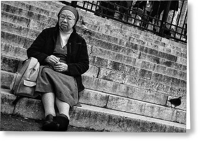 Sitting Nun  #woman #nun #religion Greeting Card