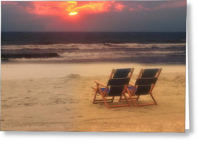 Sitting On The Beach Greeting Card by Kathy Jennings