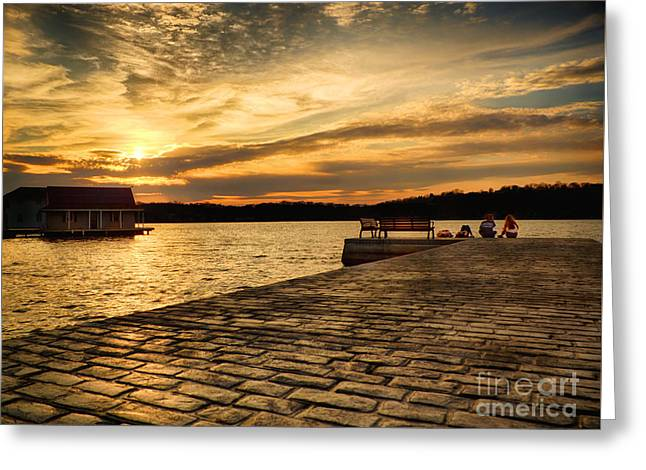Sitting On The Dock Of The Lake Greeting Card by Mark Miller
