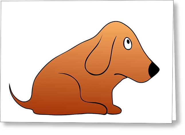 Puppies Drawings Greeting Cards - Sitting Puppy Greeting Card by Michal Boubin