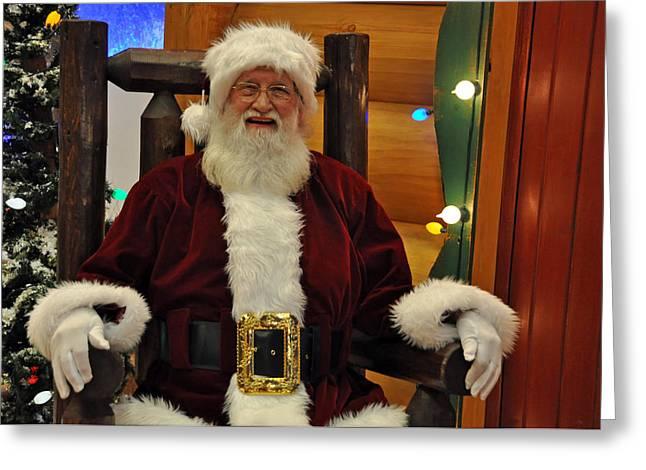Sitting Santa Claus Greeting Card by Teresa Blanton
