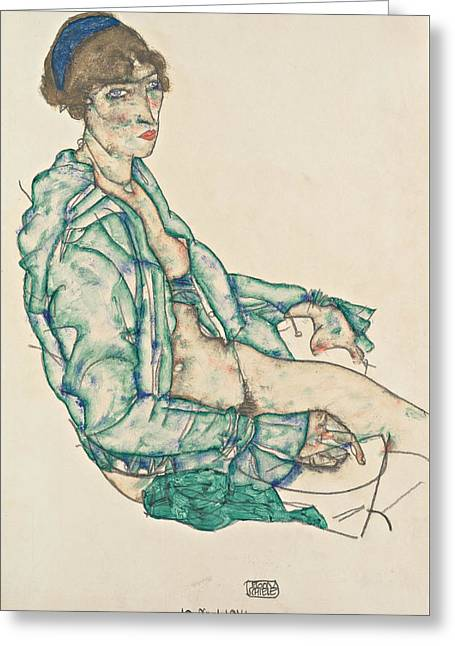 Sitting Semi-nude With Blue Hairband Greeting Card by Egon Schiele