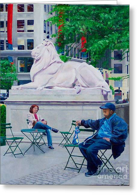 Sitting With Patience Greeting Card by Lou Spina