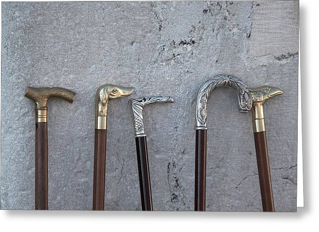 Siver And Bronze Walking Sticks Greeting Card by Matjaz Preseren