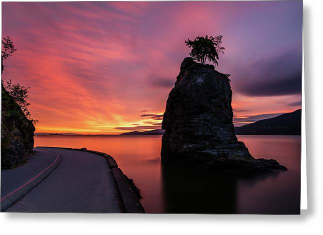 Greeting Card featuring the photograph Siwash Rock Along The Sea Wall by Pierre Leclerc Photography