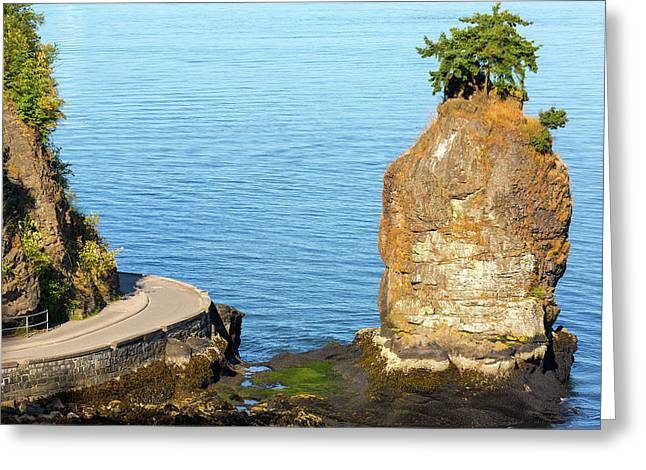 Siwash Rock By Stanley Park Seawall Greeting Card by David Gn