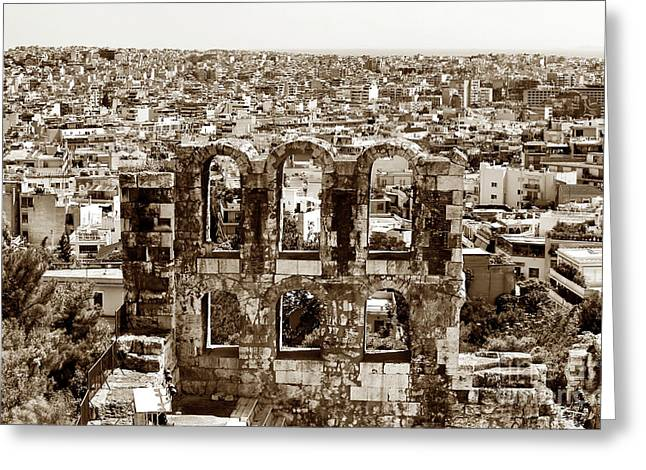 Six Arches In Athens Greeting Card by John Rizzuto