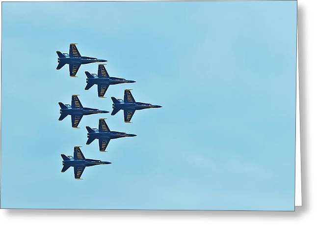 Six Blue Angels In The Clear Blue Sky Greeting Card