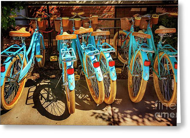Greeting Card featuring the photograph Six Huffy Bicycles by Craig J Satterlee