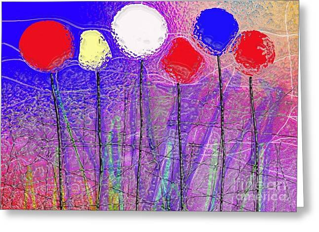Six In A Row Greeting Card by Mimo Krouzian