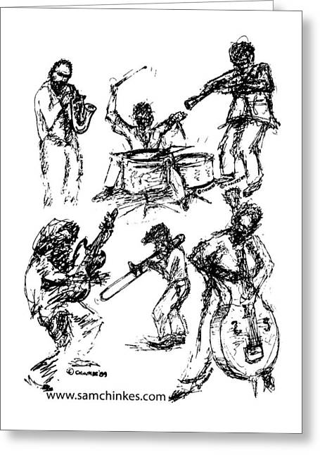 Six Musicians Greeting Card by Sam Chinkes