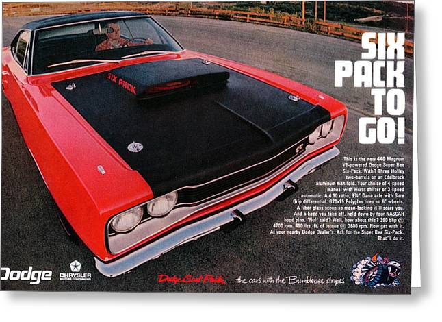 Six Pack To Go - 1969 Dodge Coronet Super Bee Greeting Card by Digital Repro Depot