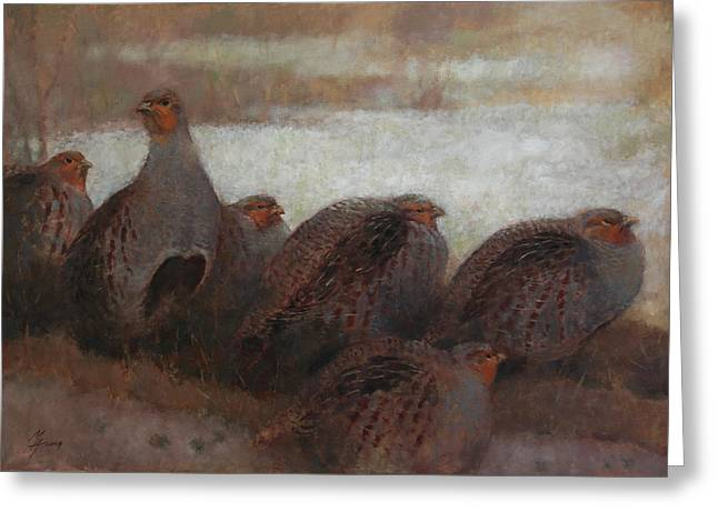Six Partridges Greeting Card
