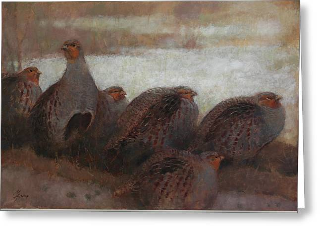 Six Partridges Greeting Card