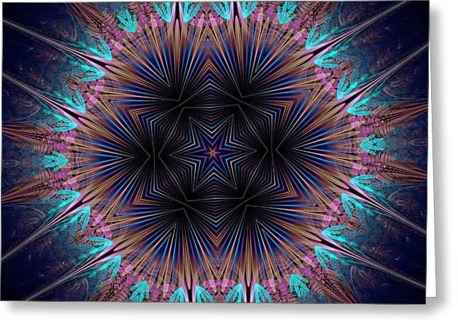 Six Petal Star Kaleidoscope Greeting Card