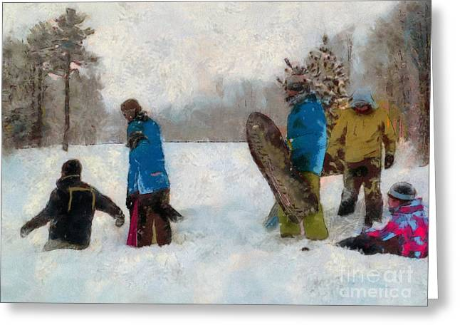 Six Sledders In The Snow Greeting Card