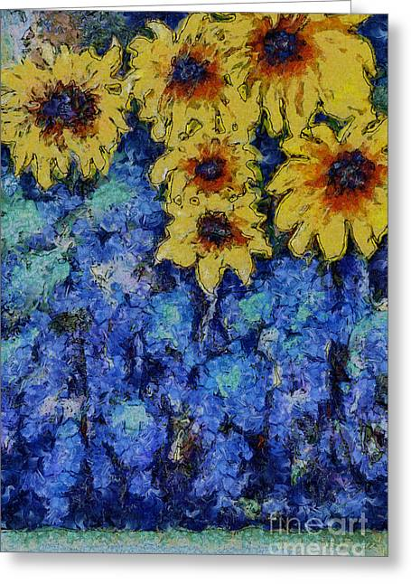 Six Sunflowers On Blue Greeting Card