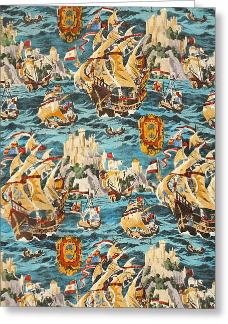 Sixteenth Century Ships Greeting Card by Harry Wearne