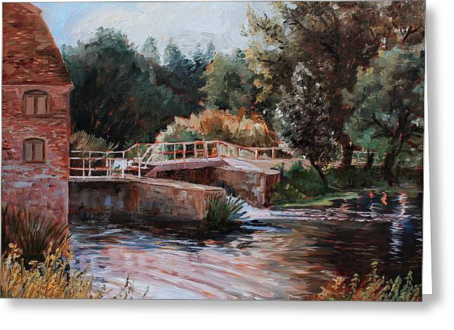 Sixtenth Century Watermill In Sturminster Newton Dorset England Greeting Card by Ethel Vrana
