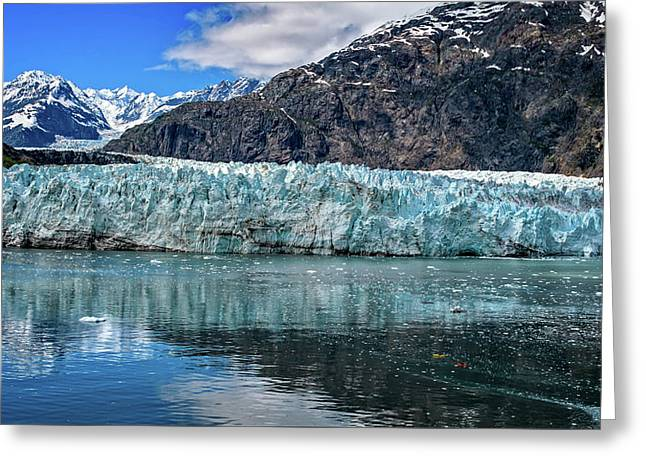 Greeting Card featuring the photograph Size Perspective No Margerie Glacier by John Hight