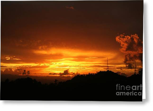 Greeting Card featuring the photograph Sizzling Sunset by The Art of Alice Terrill