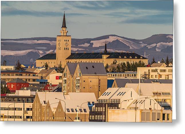 Sjomannaskolinn Surrounded By Office Greeting Card by Panoramic Images