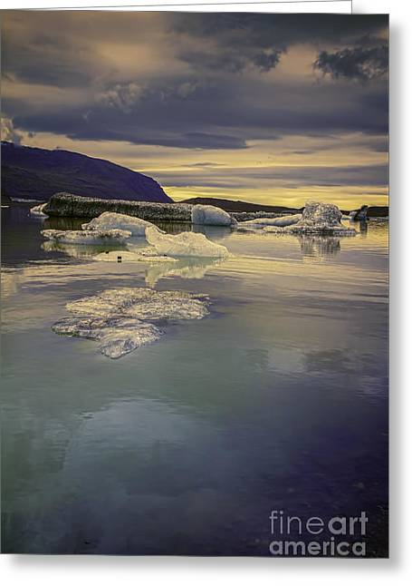 Skaftafellsjokull Lagoon Greeting Card by Nancy Dempsey