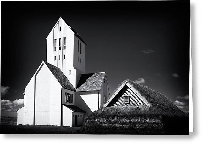 Skalholt Cathedral Iceland Black And White Greeting Card by Matthias Hauser