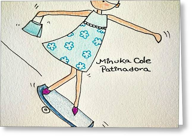 Skate Minuka Cole Greeting Card by Marian Rodriguez